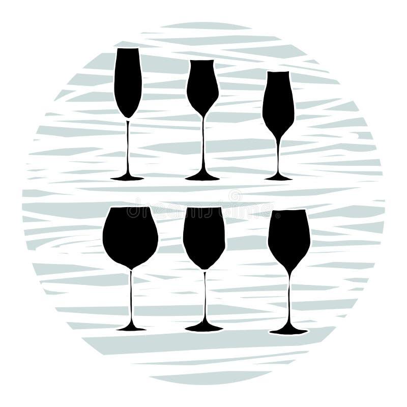 Placez des verres de vin, vecteur illustration stock
