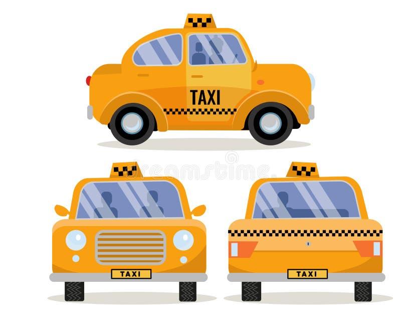 Placez des vues de côté de 3 avant, de dos et de la voiture de taxi Véhicule mignon drôle jaune de ville, taxi de marquage à chau illustration stock