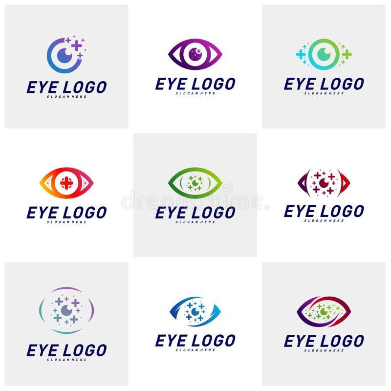 Placez des yeux avec le vecteur de concept de construction de logo de santé d'icônes Calibre de logo d'oeil de sant? Symbole d'ic illustration stock