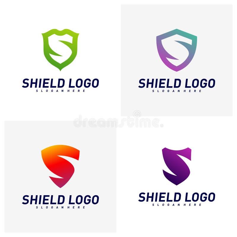 Placez du bouclier initial Logo Design Concepts de S Conception d'illustration de vecteur de bouclier de lettre de S Symbole d'ic illustration libre de droits