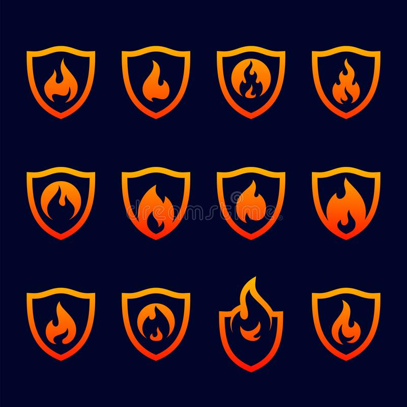 Placez du bouclier Logo Design Vector Template du feu Le feu Logo Concept de bouclier Symbole d'ic?ne illustration stock