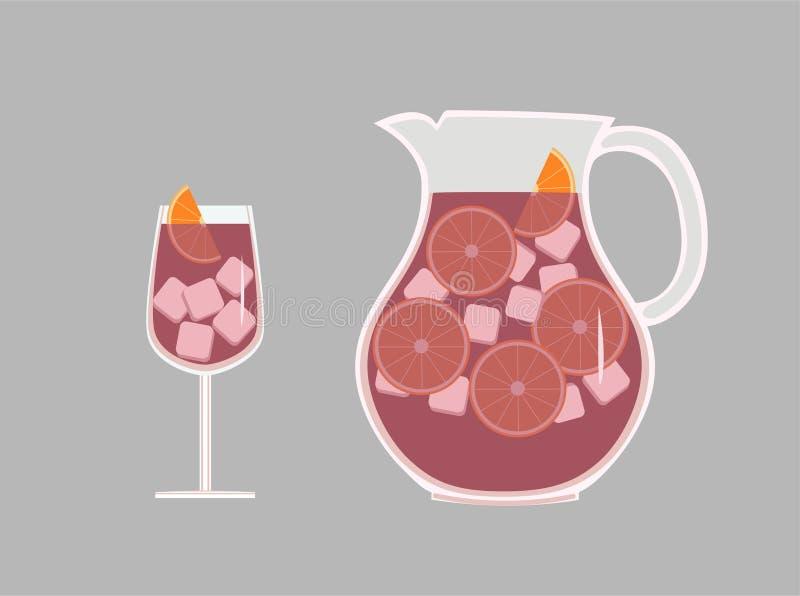 Placez du broc et du verre avec du vin espagnol régénérateur de sangria de boissons avec des oranges de glace et de tranche illustration de vecteur