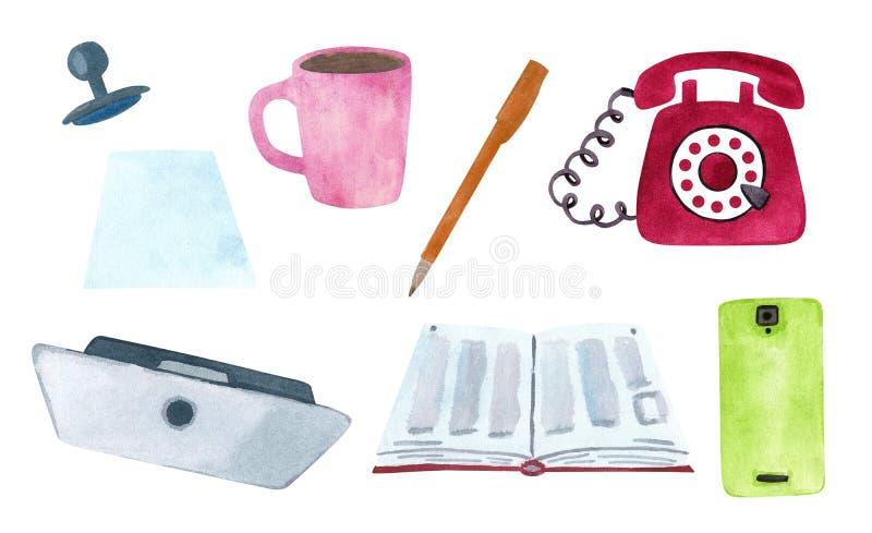 Placez du bureau et de l'étude stationnaires illustration de vecteur