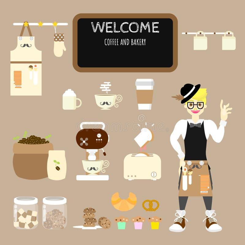 placez du café de café et du tablier de port de barman avec la boulangerie douce, gâteau, petit pain, biscuit, café, croissant, p illustration stock