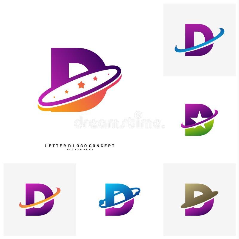 Placez du calibre de vecteur de concept de construction de logo de planète de la lettre D Vecteur initial de logo de D illustration de vecteur