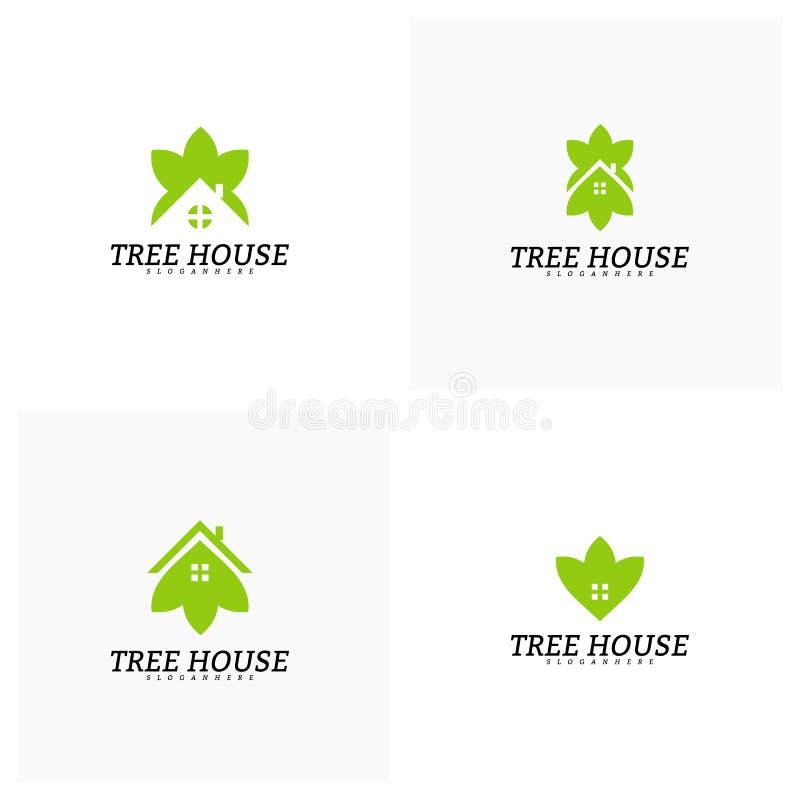 Placez du calibre de vecteur de logo de cabane dans un arbre Logo de maison de feuille illustration de vecteur