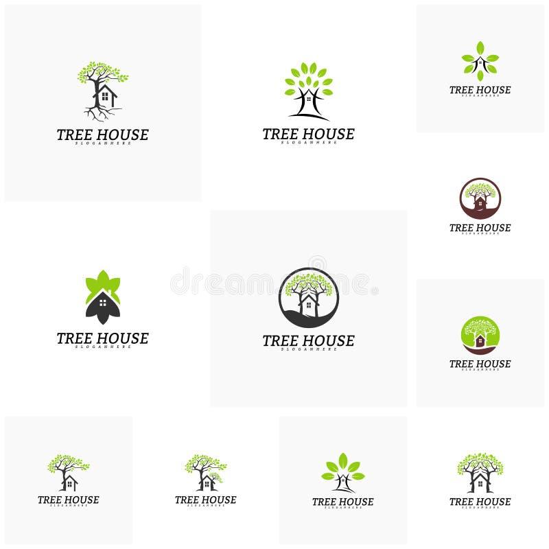 Placez du calibre de vecteur de logo de cabane dans un arbre Logo de maison de feuille illustration stock
