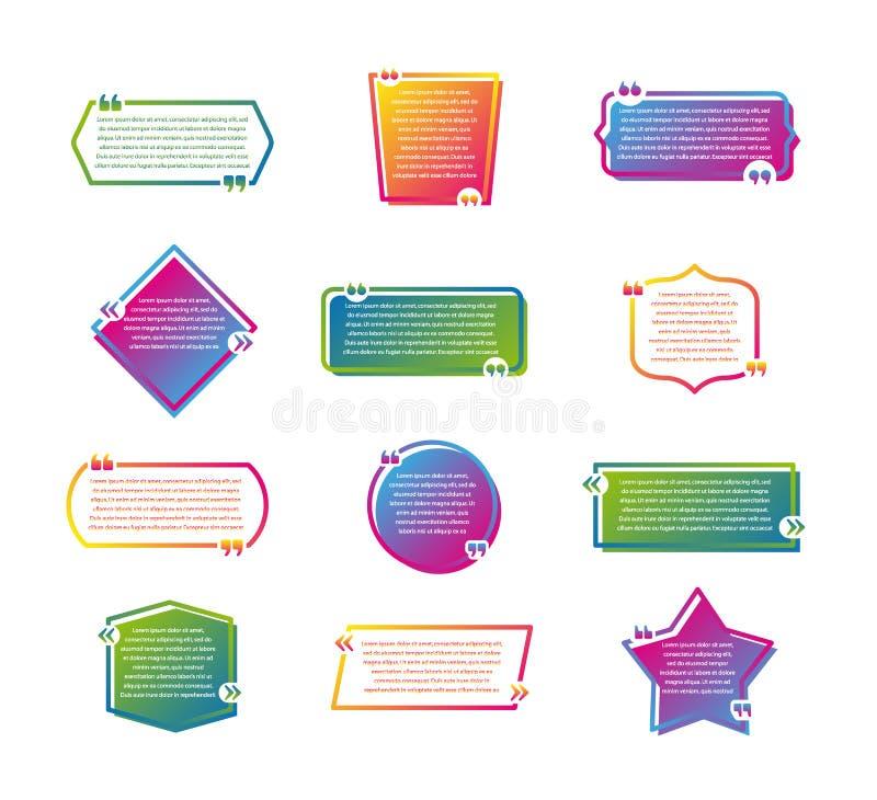 Placez du calibre vide coloré de citations Bulles créatives de la parole, cadres vides de citation d'isolement sur le fond blanc illustration libre de droits