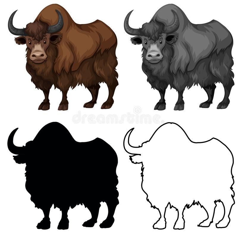 Placez du charatcer de yaks illustration libre de droits
