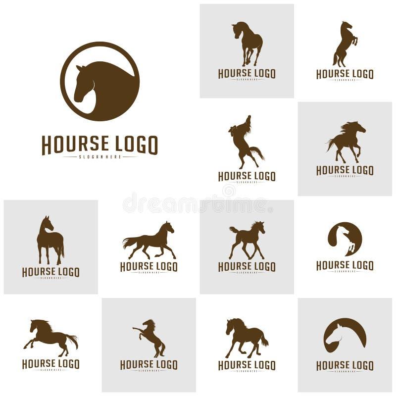 Placez du cheval Logo Design Icon Symbol Vecteur de cheval Silhouette de cheval illustration stock