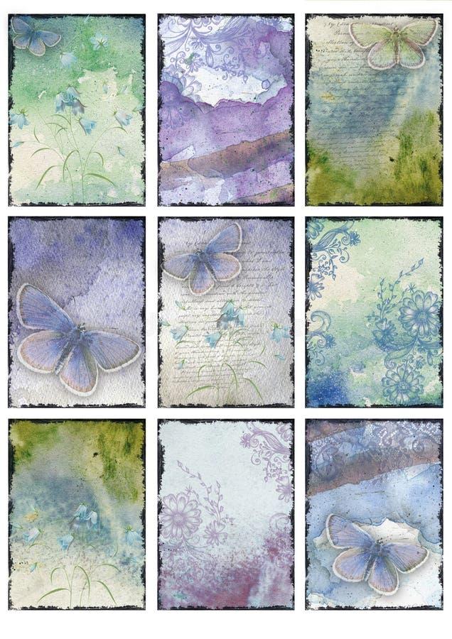 Placez du collage abstrait de neuf de cru de papillon milieux bleus d'images illustration stock