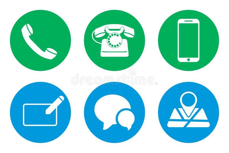 Placez-du contact nous des icônes sur des cercles Illustration de vecteur illustration de vecteur