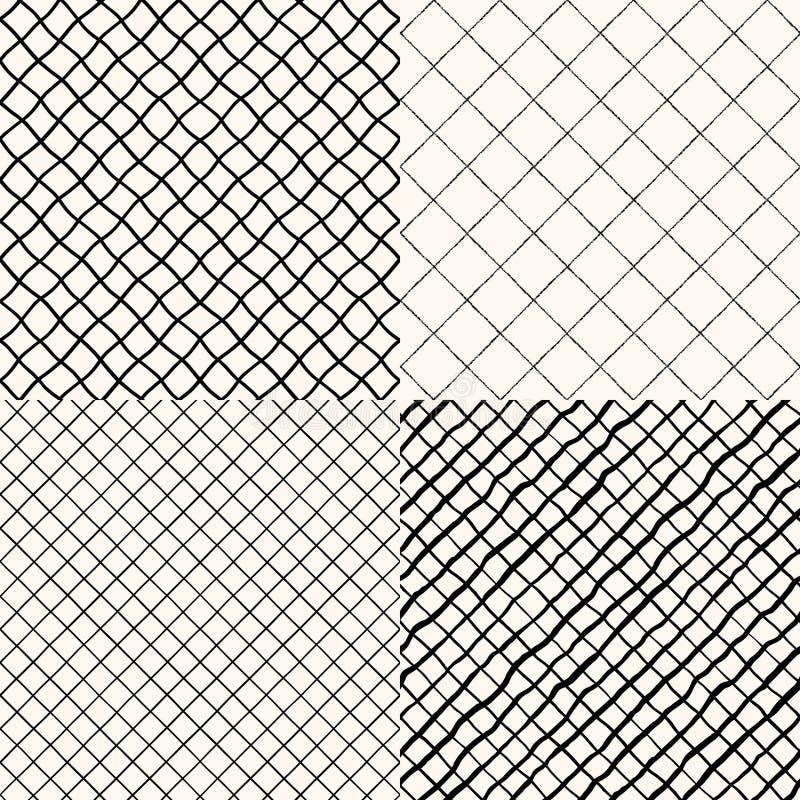 Placez du contrôle diagonal tiré de brosse de main, modèles de plaid illustration libre de droits