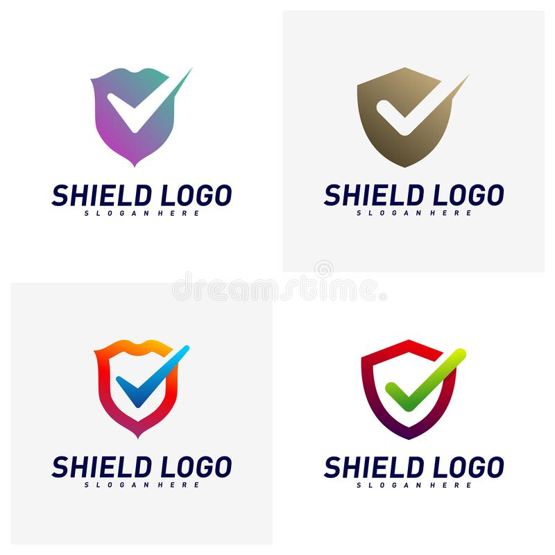 Placez du contr?le Logo Design Concept Vector de bouclier Conception d'illustration de vecteur de qualit? de bouclier Symbole d'i illustration libre de droits