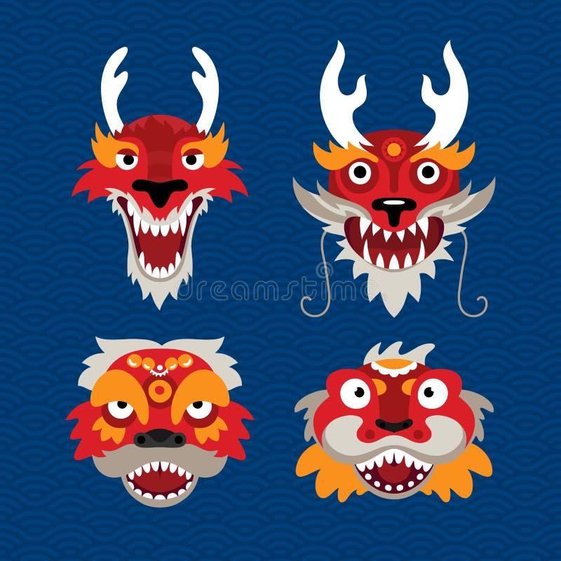 Placez du dragon et du lion de symboles de célébration de chinois traditionnel Illustration stylisée des têtes animales illustration stock