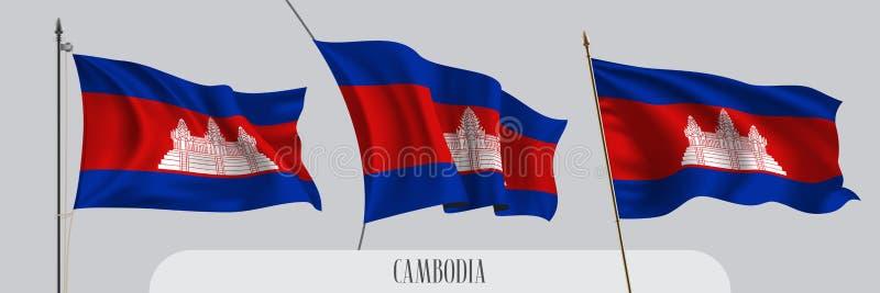 Placez du drapeau de ondulation du Cambodge sur l'illustration d'isolement de vecteur de fond illustration de vecteur