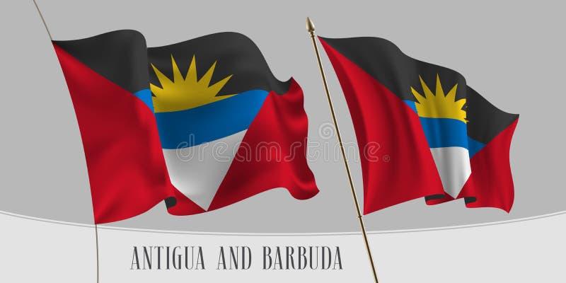 Placez du drapeau de ondulation de l'Antigua-et-Barbuda sur l'illustration d'isolement de vecteur de fond illustration stock