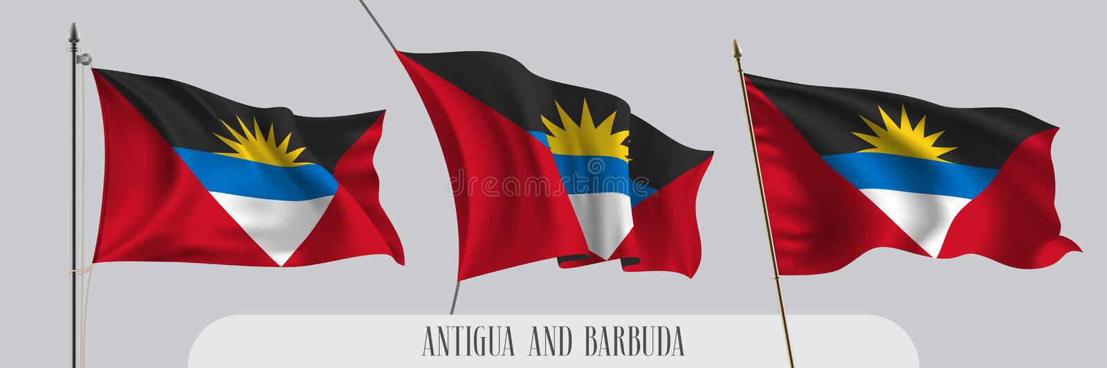 Placez du drapeau de ondulation de l'Antigua-et-Barbuda sur l'illustration d'isolement de vecteur de fond illustration libre de droits