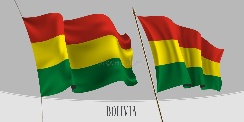 Placez du drapeau de ondulation de la Bolivie sur l'illustration d'isolement de vecteur de fond illustration de vecteur