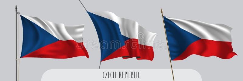 Placez du drapeau de ondulation de République Tchèque sur l'illustration d'isolement de vecteur de fond illustration libre de droits