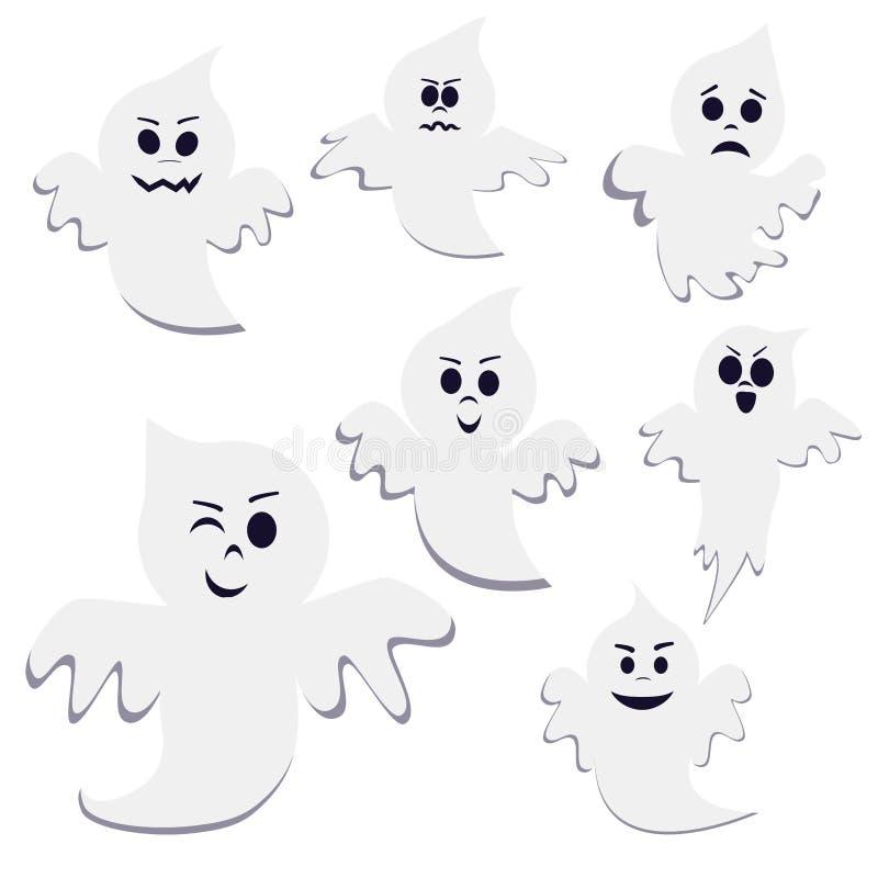 Placez du fantôme différent de bande dessinée de pose d'isolement sur le fond blanc illustration libre de droits