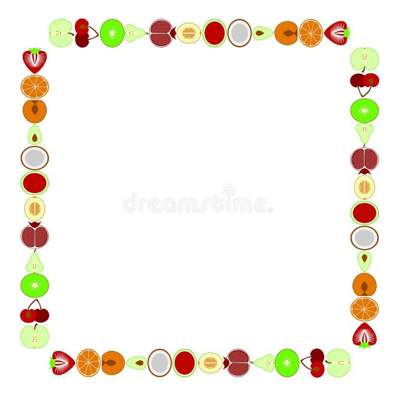 Placez du fond de cadre d'illustration d'icônes de légumes et de fruits sur le vecteur blanc illustration stock