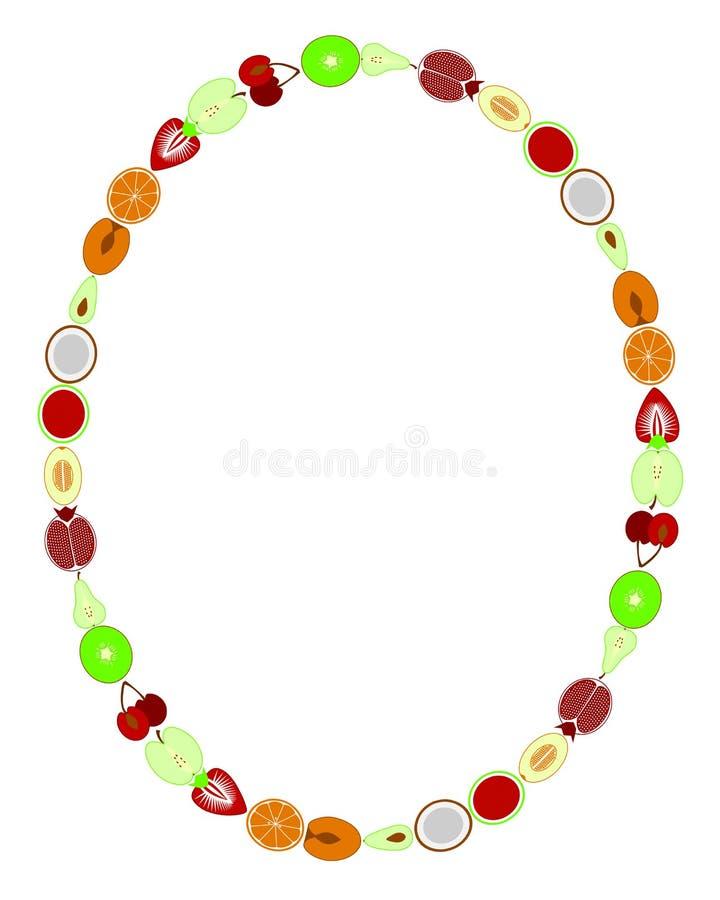 Placez du fond de cadre d'illustration d'icônes de légumes et de fruits sur le vecteur blanc illustration libre de droits