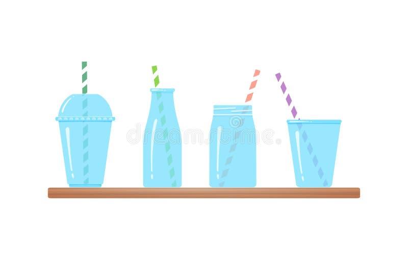 Placez du graphique de vecteur d'isolement par verres à boire illustration stock