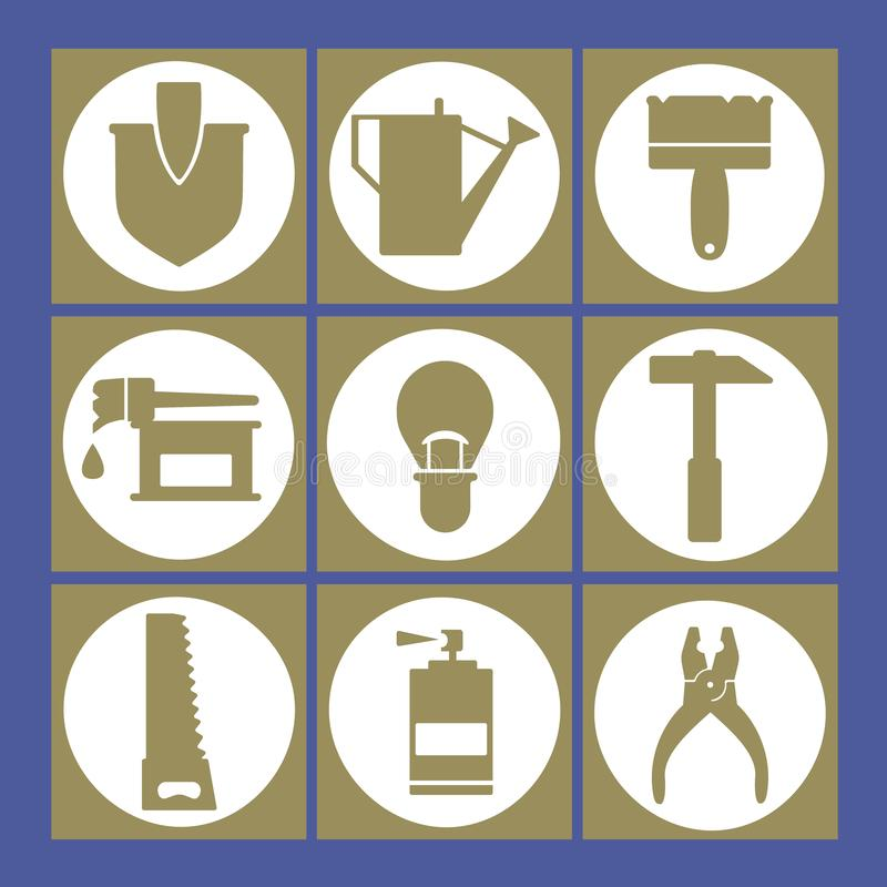 Placez du jardin et des icônes d'outils de réparations illustration de vecteur