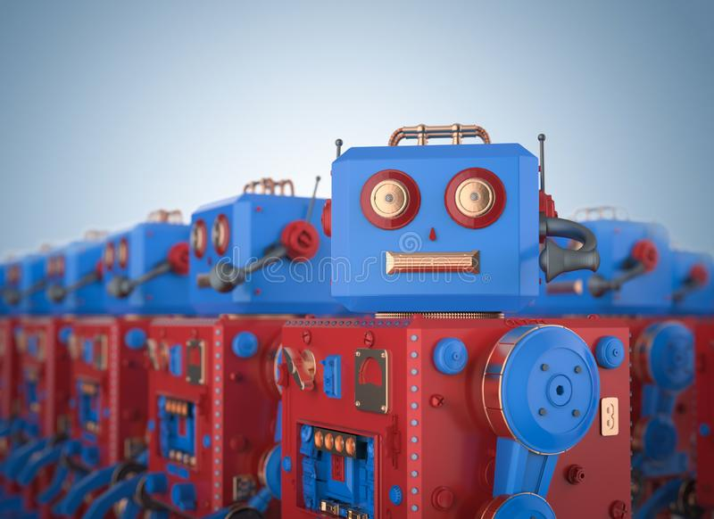 Placez du jouet rouge de bidon de robot illustration libre de droits