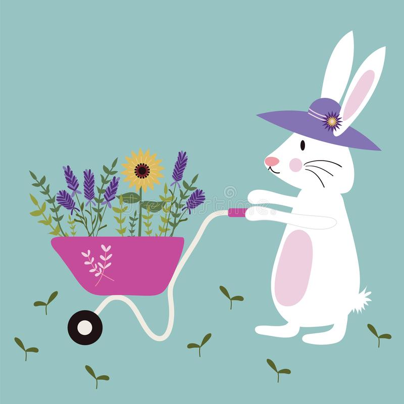 Placez du lapin de jardinage avec une brouette complètement des fleurs sauvages illustration libre de droits