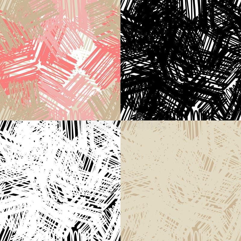 Placez du modèle 4 sans couture du gribouillage Griffonnages stridents négligents de stylo ou de crayon Illustration de vecteur illustration stock