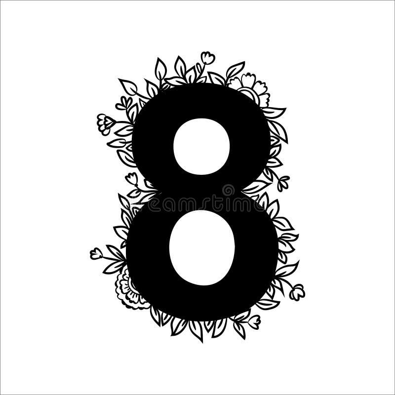 Placez du nombre floral huit avec des fleurs, des feuilles et des détails de fines herbes Élément noir et blanc de conception gra illustration de vecteur