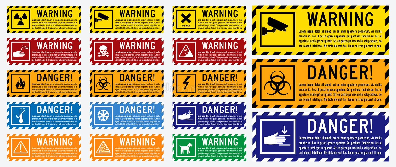Placez du panneau d'avertissement avec la combinaison de couleurs illustration de vecteur
