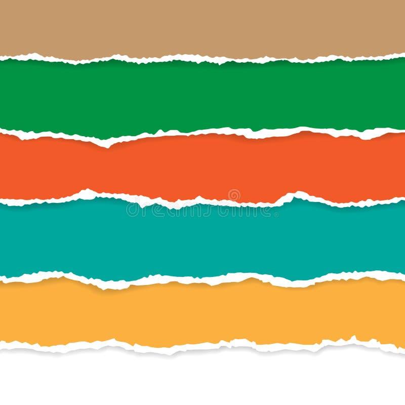 Placez du papier déchiré par couleur Illustration de vecteur avec des ombres image stock