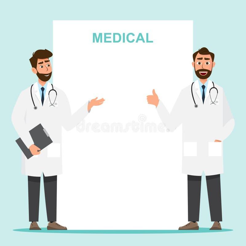 Placez du personnage de dessin animé de docteur avec l'espace de copie image libre de droits