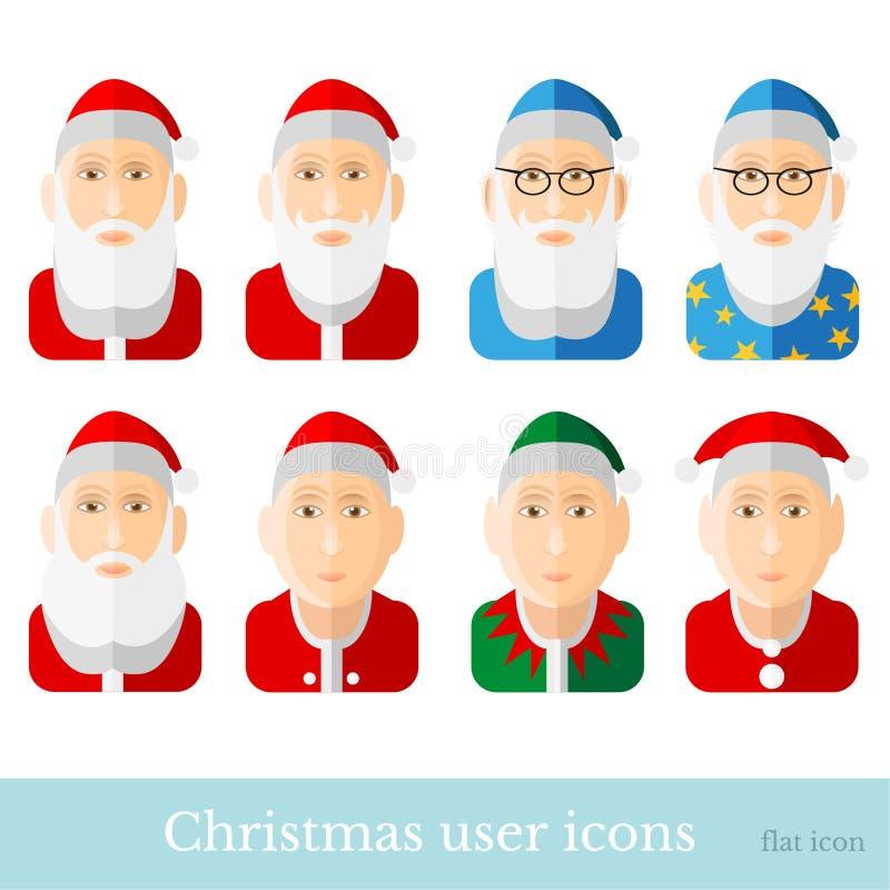 Placez du personnage de dessin animé Santa, naine, gnome, magicien, magicien, elfe, astronome de Noël Icônes d'utilisateur dans l illustration de vecteur