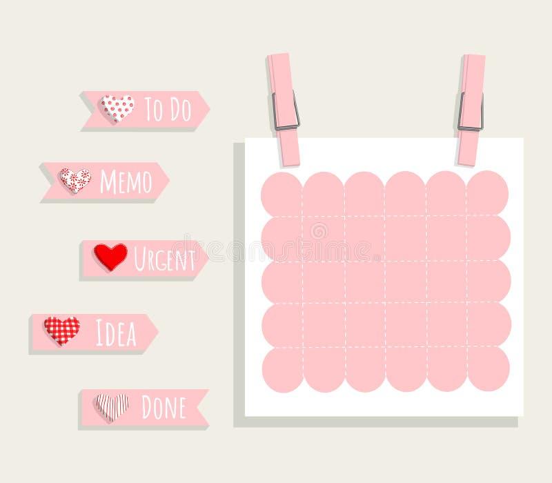 Placez du planificateur rose romantique, notes, pour faire la liste pour diriger le calibre stationnaire illustration libre de droits