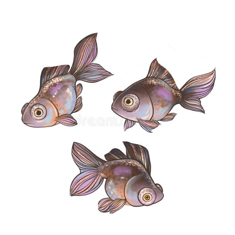 Placez du poisson rouge de bande dessinée d'isolement sur le blanc illustration libre de droits