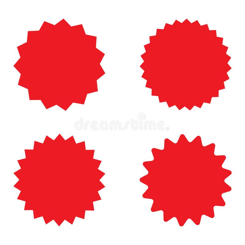 Placez du rétro starburst vide rouge, insignes de rayon de soleil Illustration de vecteur illustration de vecteur