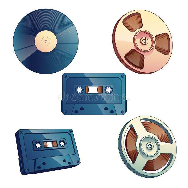 Placez du rétro stockage de médias pour la musique et le bruit illustration de vecteur
