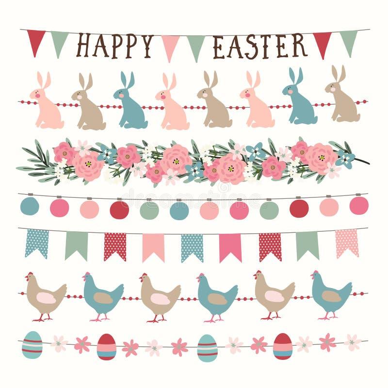 Placez du ressort tiré par la main, guirlandes de Pâques avec des lumières, drapeaux d'étamine de partie Bannières tirées par la  illustration libre de droits