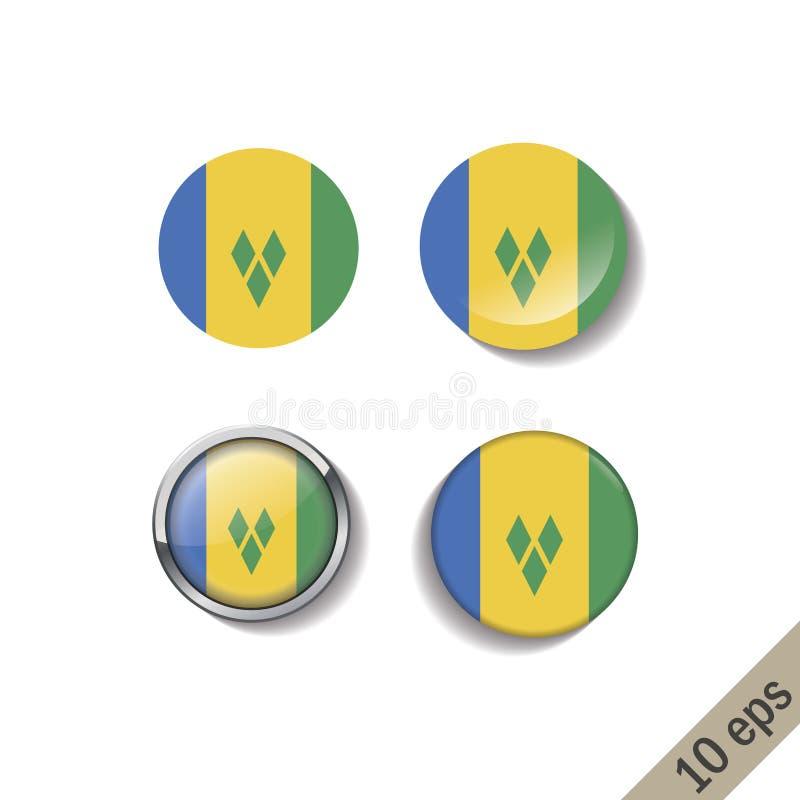 Placez du SAINT VINSENT ET des insignes ronds de drapeaux de GRENADINES illustration stock
