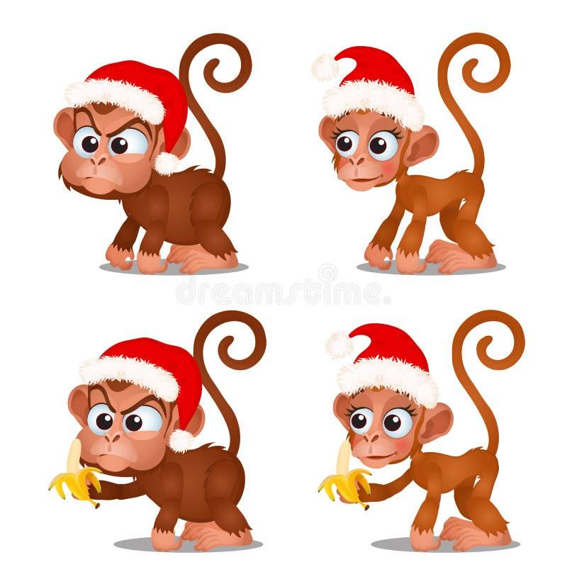 Placez du singe mignon avec le chapeau rouge de Santa Claus et des bananes d'isolement sur le fond blanc Croquis de Noël de fête illustration de vecteur
