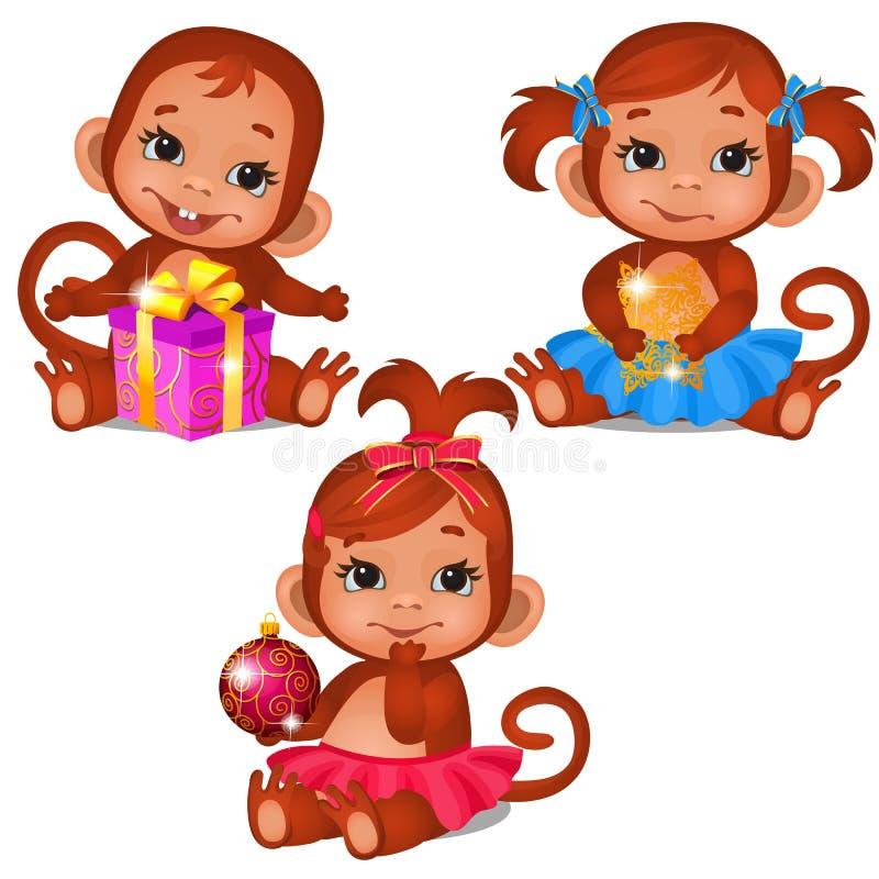 Placez du singe mignon d'enfants jouant avec des cadeaux de Noël d'isolement sur un fond blanc Croquis de Noël de fête illustration libre de droits
