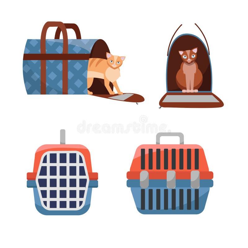 Placez du transporteur de deux positions et du sac de transport en plastique manuels de tissu pour des chats sur le fond blanc Vu illustration libre de droits