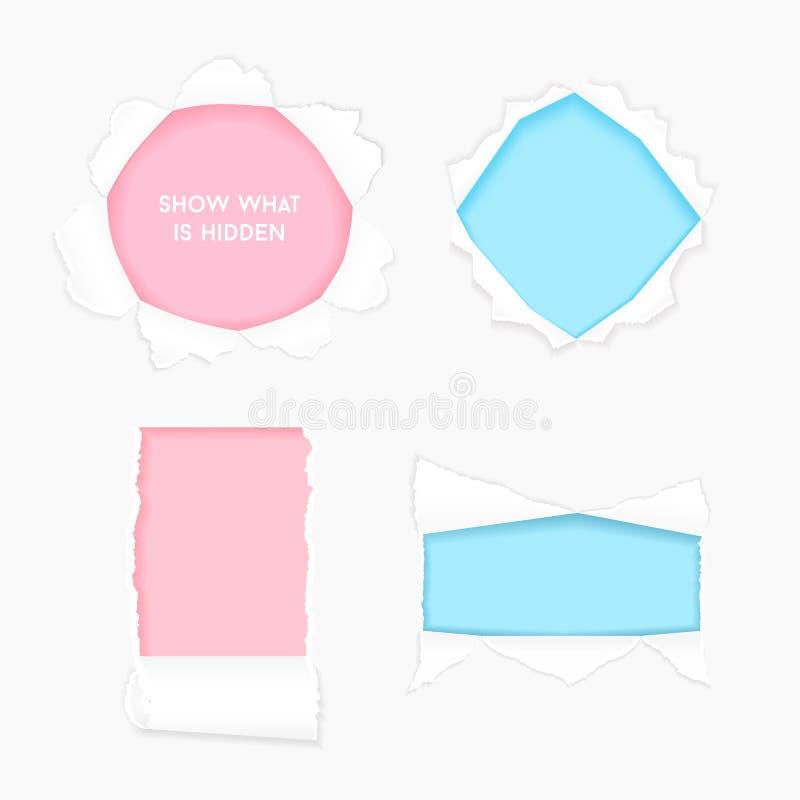 Placez du trou en lambeaux de papier réaliste déchiré illustration de vecteur