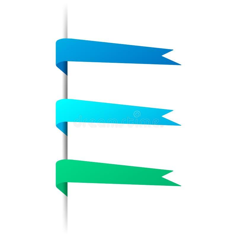 Placez du vecteur a coloré des bannières Repères pointus de couleur illustration libre de droits