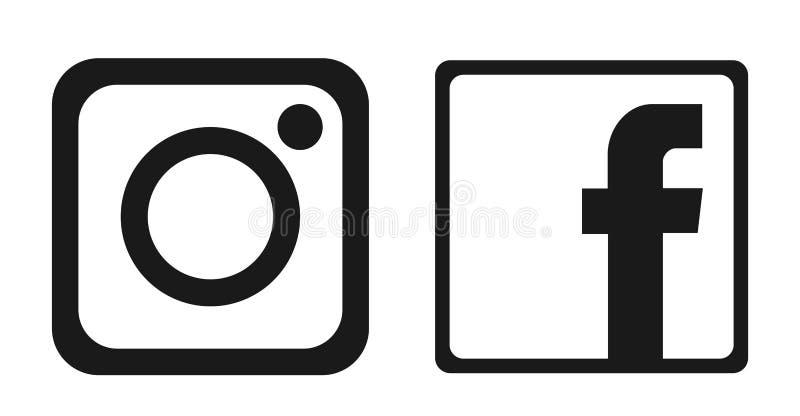 Placez du vecteur social populaire d'?l?ment d'Instagram Facebook d'ic?nes de logos de m?dias sur le fond blanc illustration de vecteur