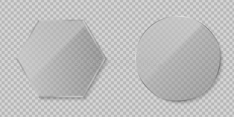 Placez du verre clair transparent d'isolement sur le fond transparent Diamant et verre rond ?l?ments graphiques pour votre concep illustration stock